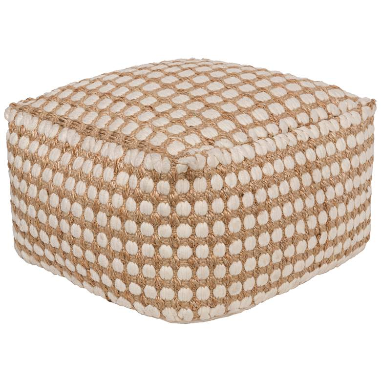 Surya Oak Cove White and Khaki Woven Pouf Ottoman
