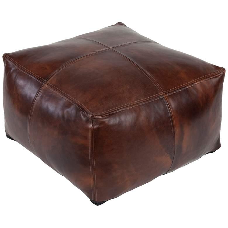 Surya Sheffield Dark Brown Leather Pouf Ottoman