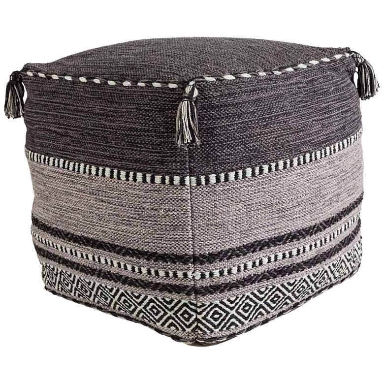 Surya Trenza Charcoal and Light Gray Cotton Pouf Ottoman