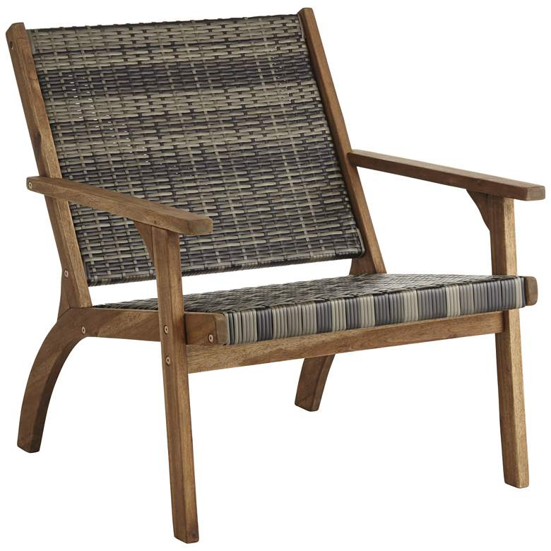 """Perry 27 1/2"""" Wide Gray Wood Outdoor Armchair"""
