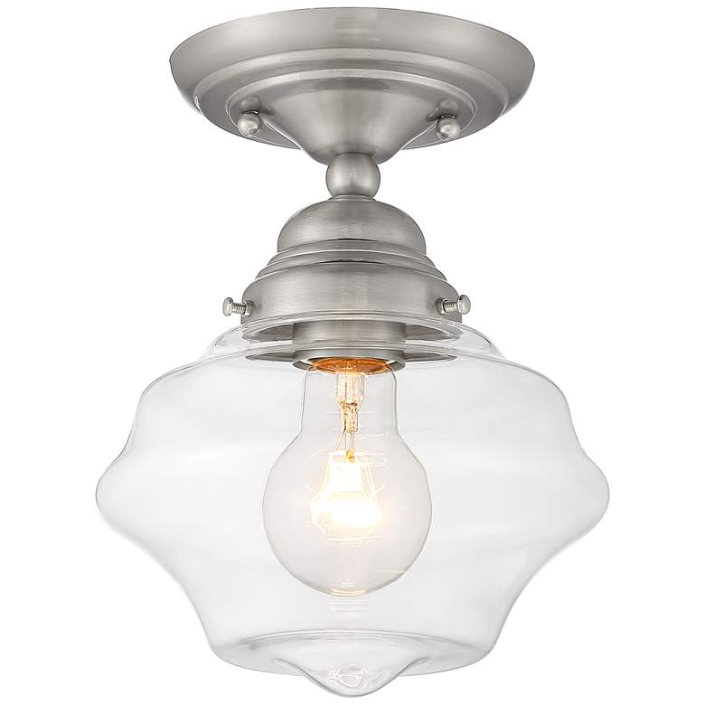 """Schoolhouse Floating 7""""W Brushed Nickel and Clear Glass Ceiling Light"""