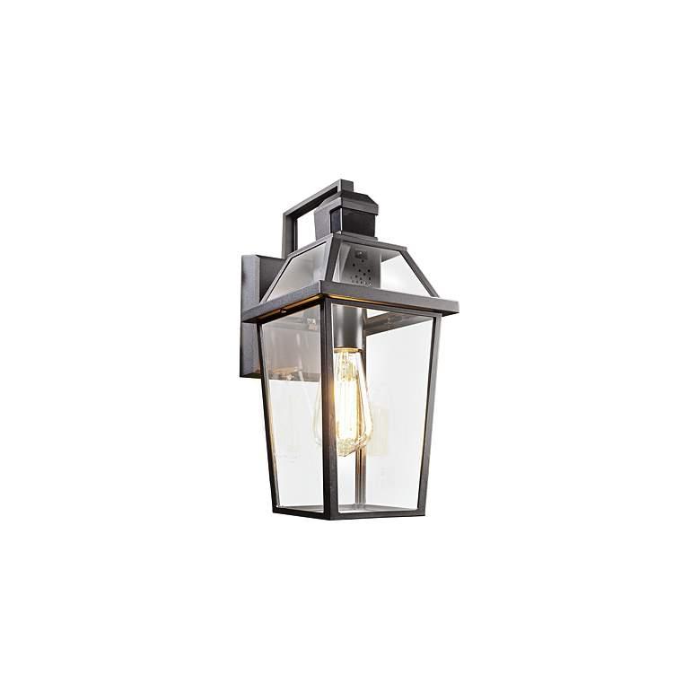 "Alden Collection 14"" High Black Motion Sensor Outdoor Wall Light"