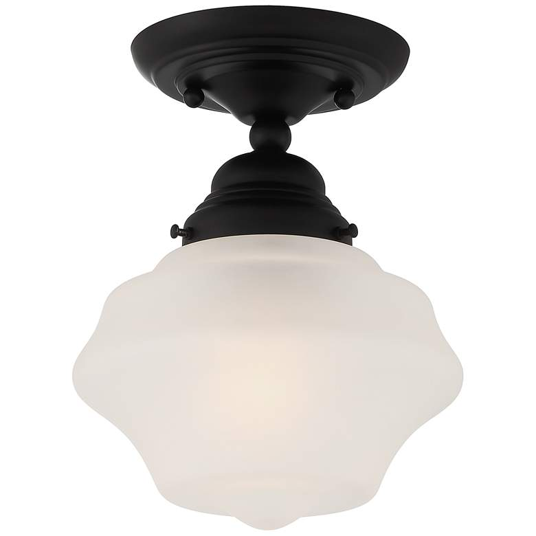 """Schoolhouse Floating 7"""" Wide Matte Black and Clear Glass Ceiling Light"""