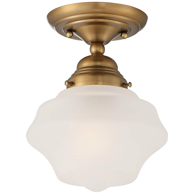 """Schoolhouse Floating 7"""" Wide Brass and Clear Glass Ceiling Light"""