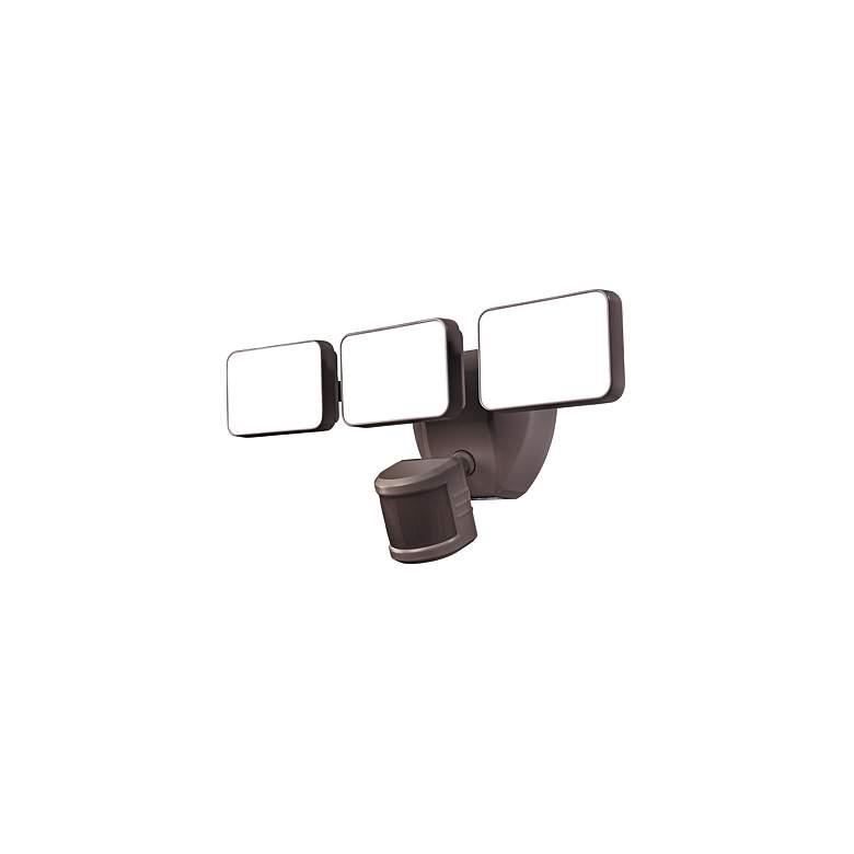 "Bronze  Motion Sensor 15 1/2"" Wide 3-Head LED Outdoor Security Light"
