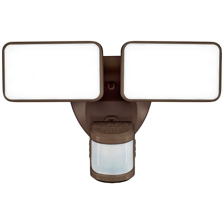 """Bronze Motion Sensor 8 1/2"""" Wide Adjustable 2-Head LED Security Light"""