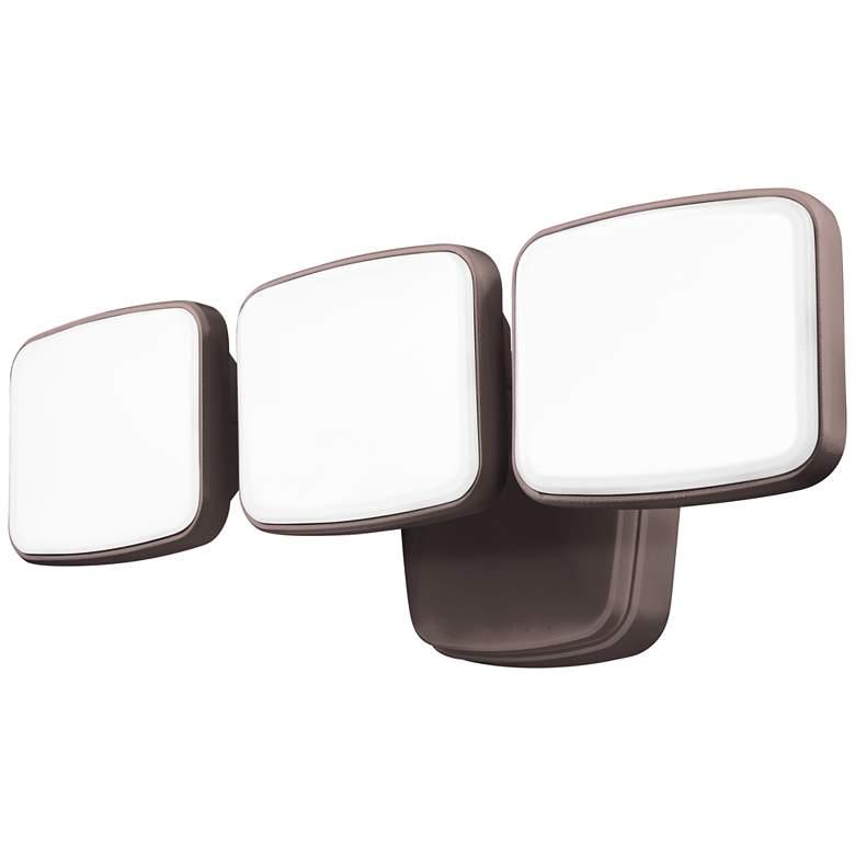 "Bronze Dusk-to-Dawn 14 3/4"" Wide Adjustable 3-Head LED Security Light"