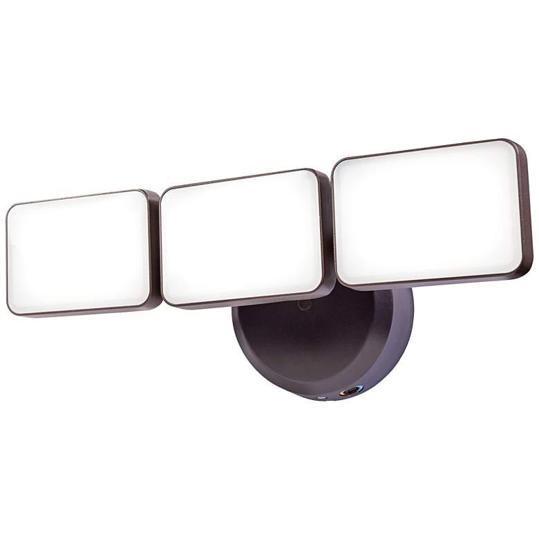"""Bronze Dusk-to-Dawn 14 1/4"""" Wide Adjustable 3-Light LED Security Light"""