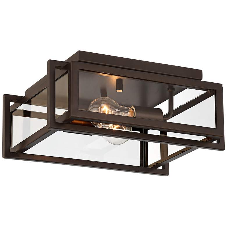 "Gilfrey 14"" Wide Oil-Rubbed Bronze Square 2-Light Ceiling Light"