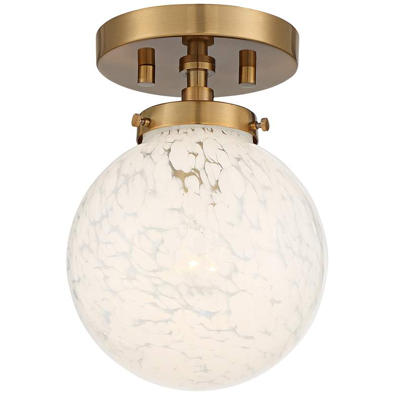 "Possini Euro Candida 7"" Wide Warm Gold and Glass Globe Ceiling Light"