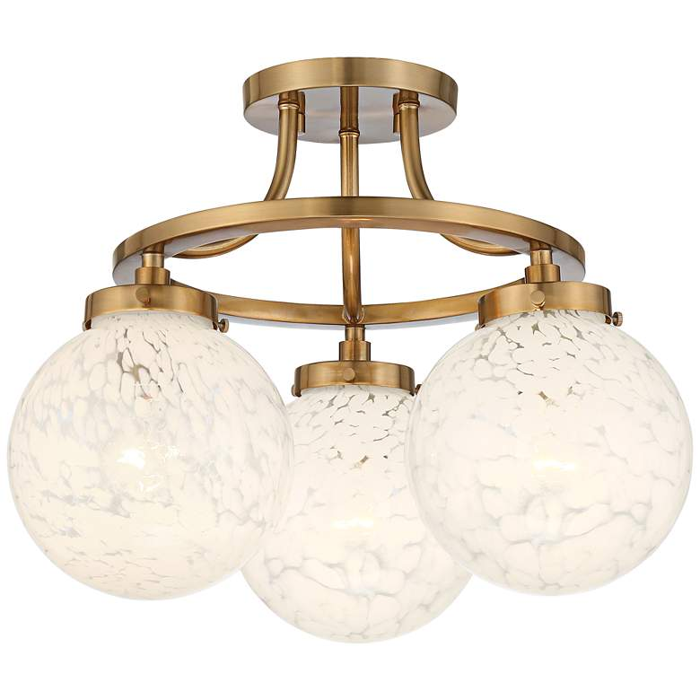 "Candida 16 1/2"" Wide Warm Aged Brass and Glass 3-Light Ceiling Light"