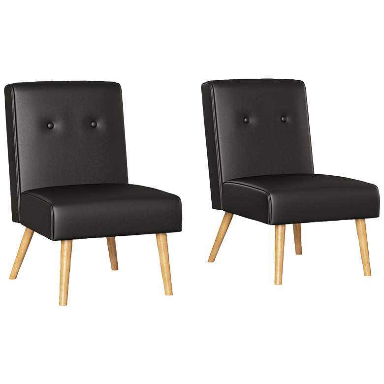 Wilbur Espresso Brown Button Tufted Armless Chairs Set of 2