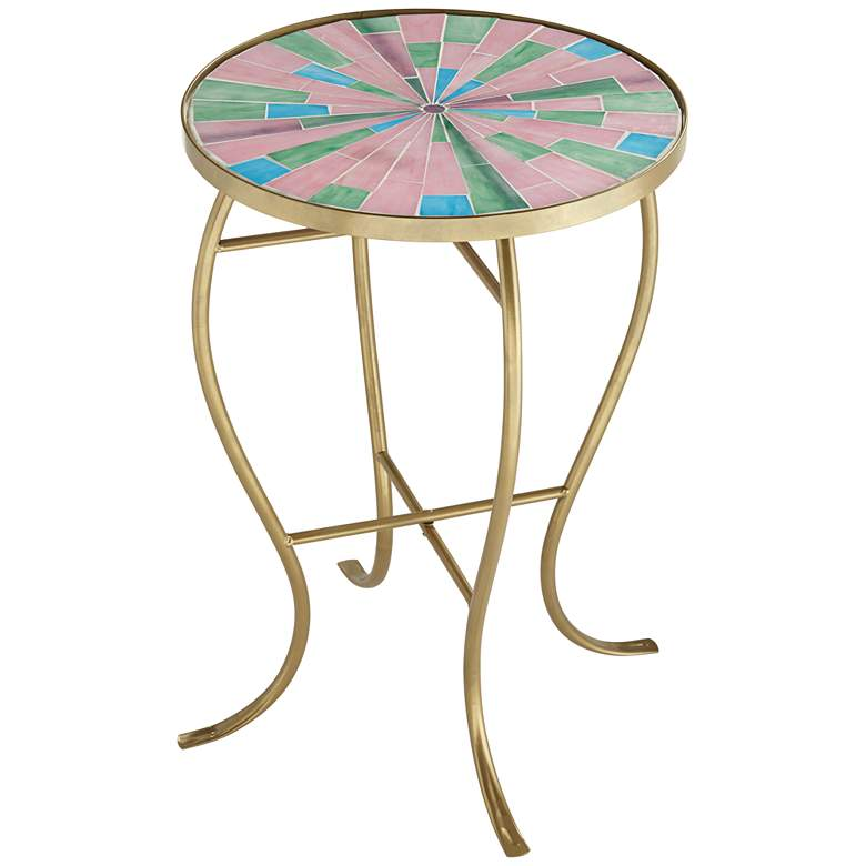 Pastel Mosaic Glass Tile Table with Gold Finish Base