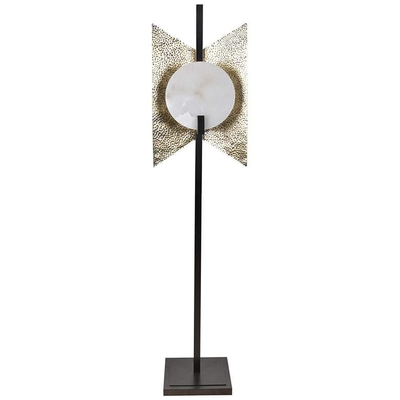 Amory Alabaster and Hammered Brass Shield Floor Lamp