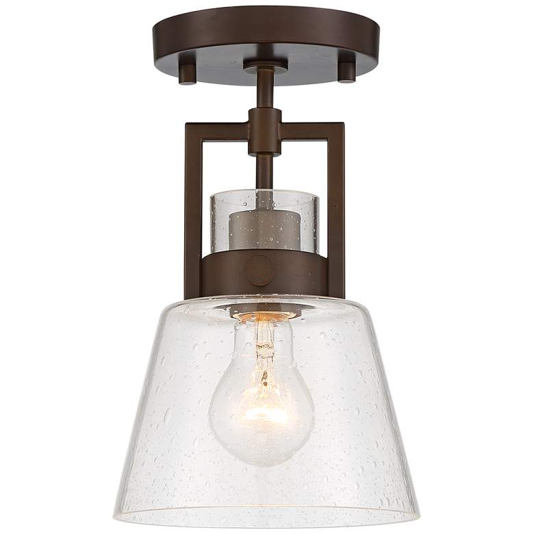 """Darnell 6 3/4"""" Wide Oil-Rubbed Bronze and Seedy Glass Ceiling Light"""