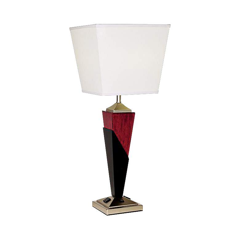 Tapered Wood Finish Table Lamp with Base Convenience Outlets