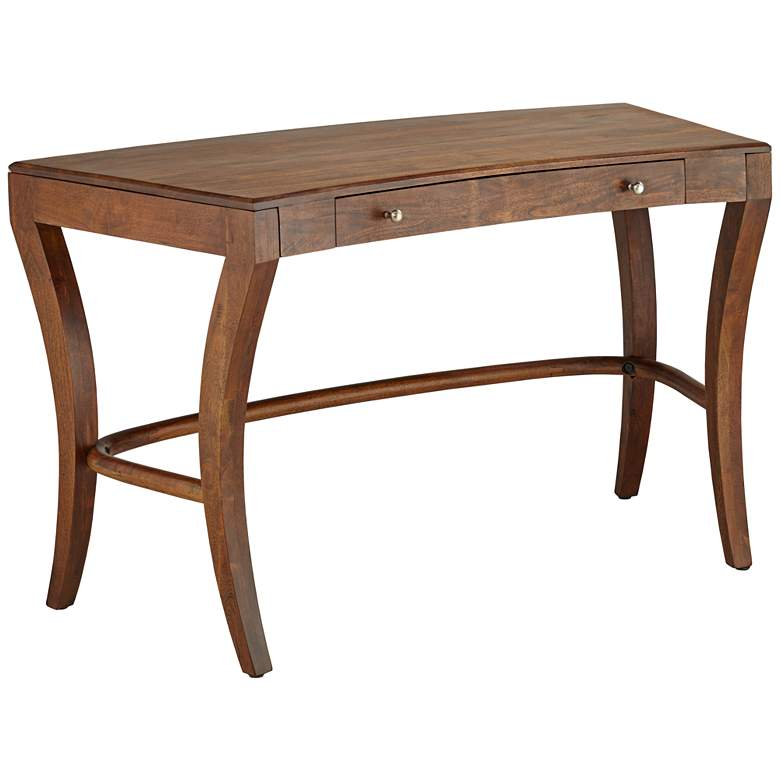 """Knoll 50"""" Wide Brown Acacia Wood 1-Drawer Writing Desk"""