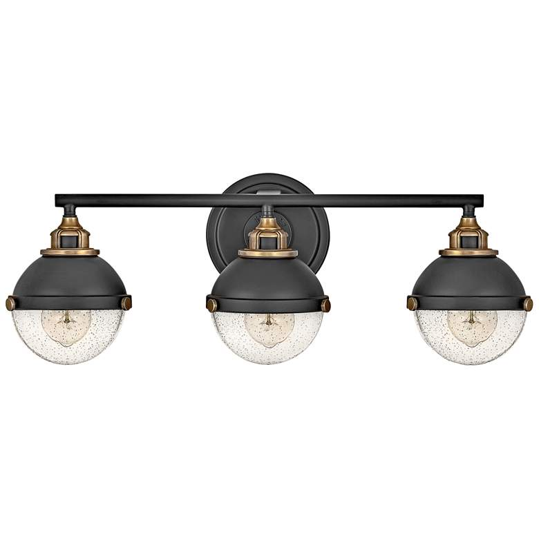 "Hinkley Fletcher 25"" Wide Black 3-Light Bath Light"