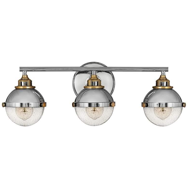"Hinkley Fletcher 25"" Wide Polished Nickel 3-Light Bath Light"
