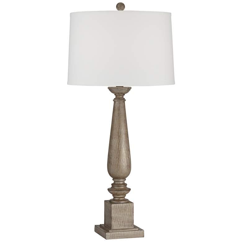 Preston Light Oak Candlestick Table Lamp