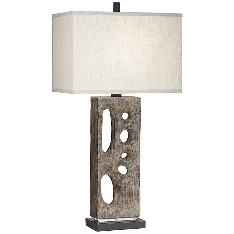 Modern Driftwood Table Lamp in Textured Wood Finish