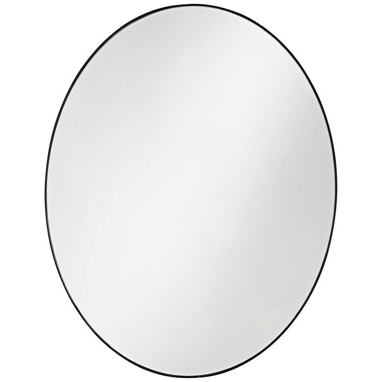 "Aryn Matte Black Metal 23 1/2"" x 30"" Oval Wall Mirror"
