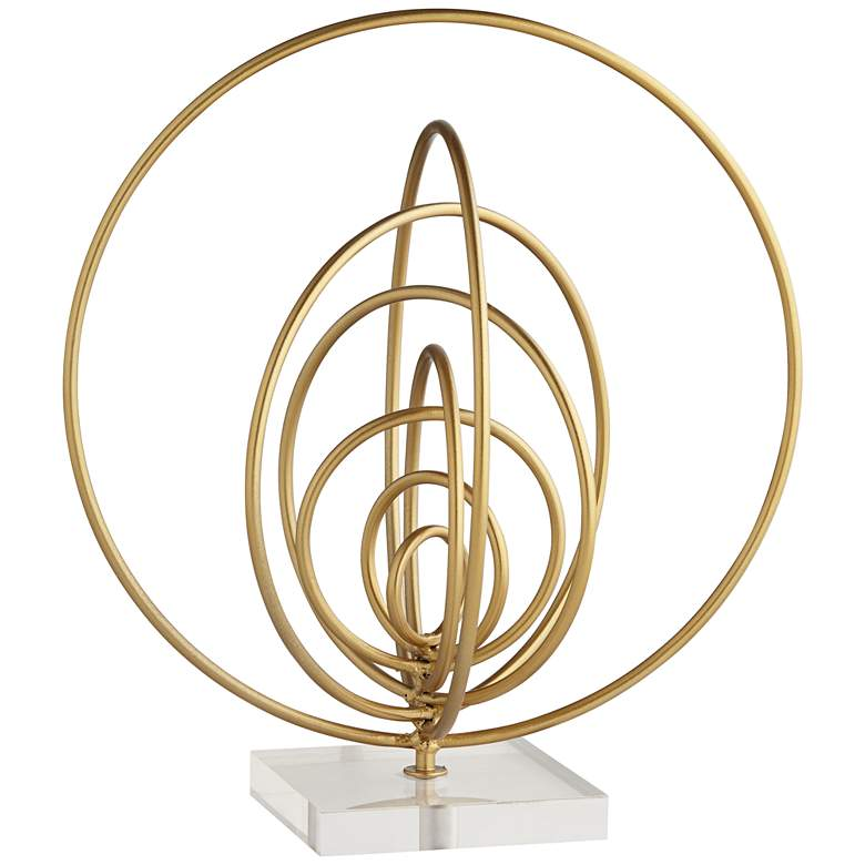 """Abstract Ring 13"""" High Gold Metal Sculpture"""