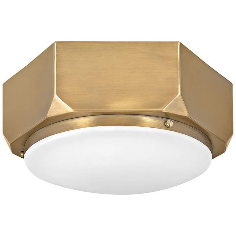 """Hinkley Hex 13"""" Wide Warm Brass Ceiling Light"""