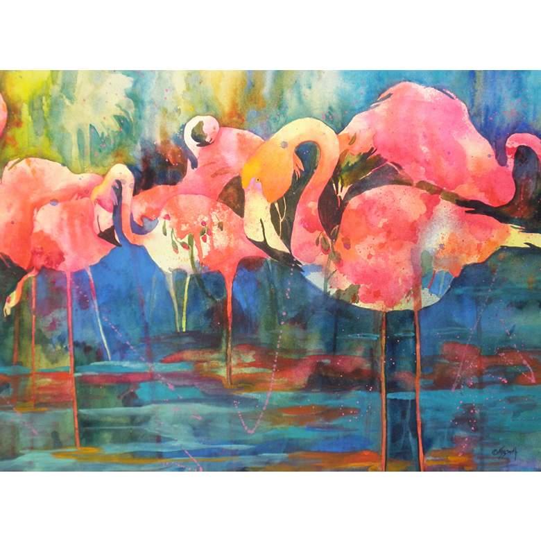 "Flirty Flamingos 40""W All-Weather Outdoor Canvas Wall Art"