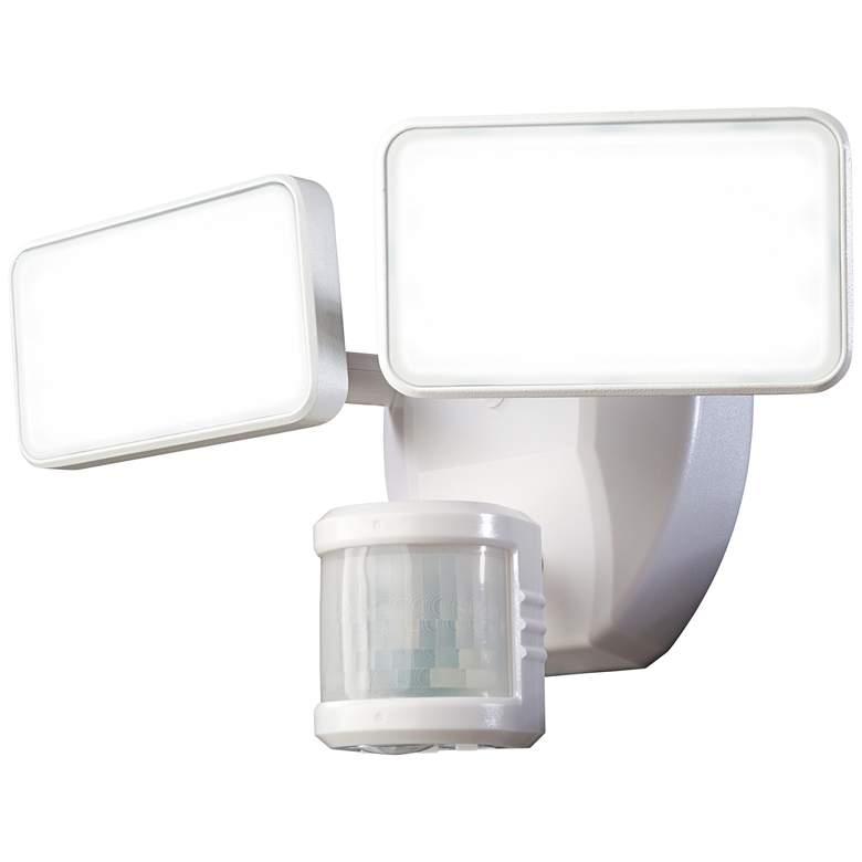 "White  Motion Sensor 8 1/2"" Wide Adjustable 2-Head LED Security Light"