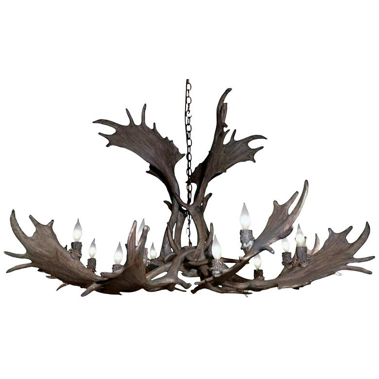 """Reproduction Antler 51""""W Natural Brown 12-Light Chandelier"""