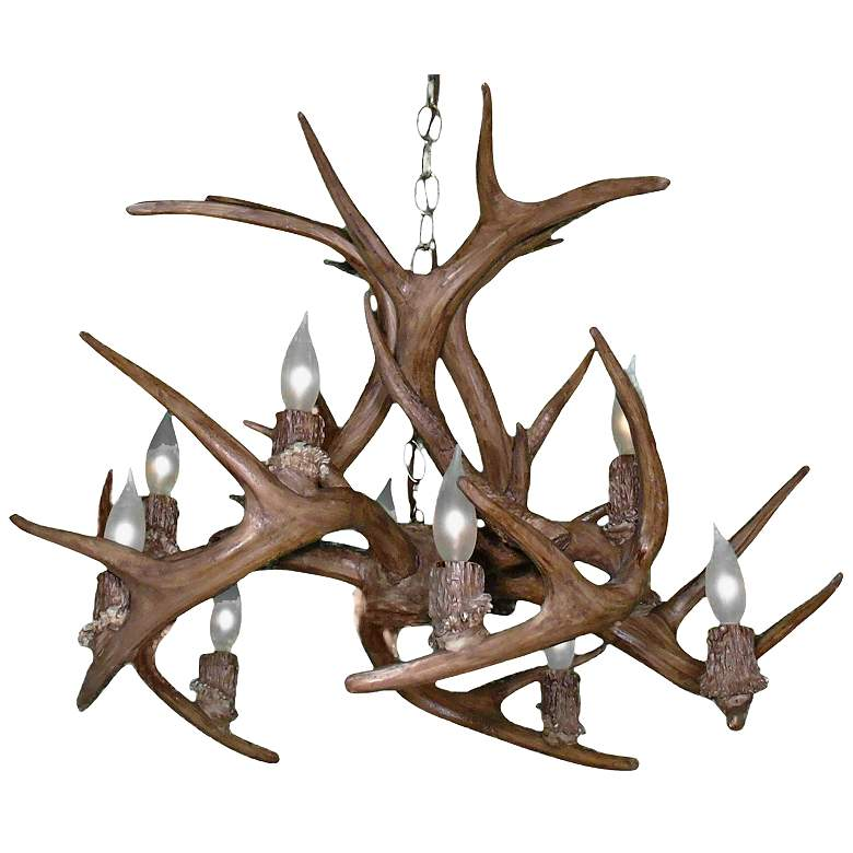 "Reproduction Antler 27""W Natural Brown 10-Light Chandelier"