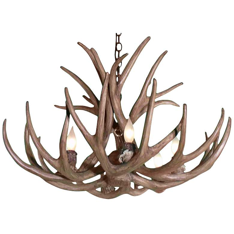 """Reproduction Antler 29""""W Natural Brown 6-Light Chandelier"""