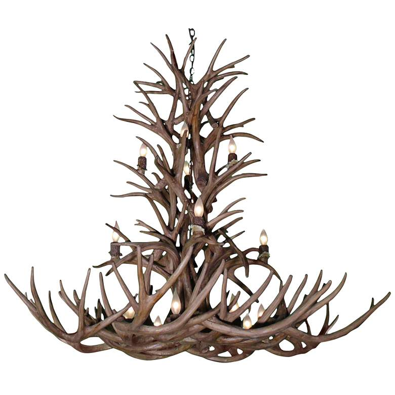 """Reproduction Antler 52""""W Natural Brown 16-Light Chandelier"""