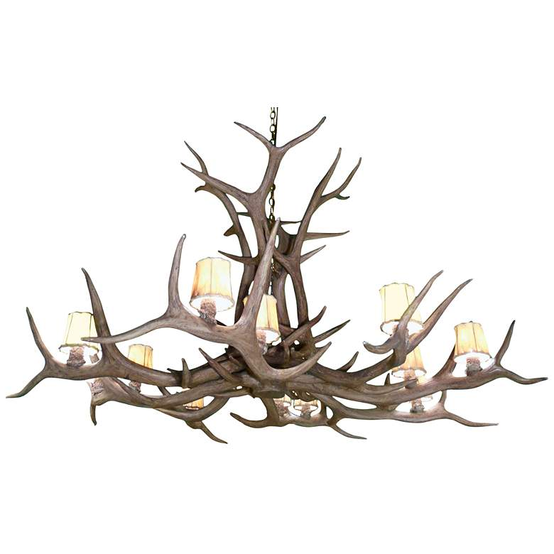 """Reproduction Antler 66""""W Natural Brown 12-Light Chandelier"""
