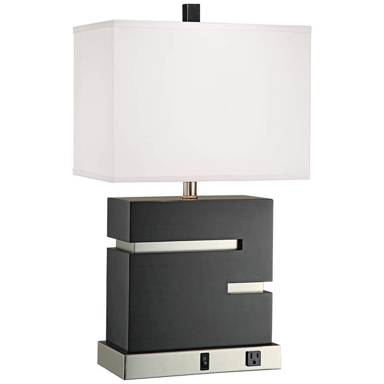 Espresso Grid Modern Table Lamp with Base Outlet Socket