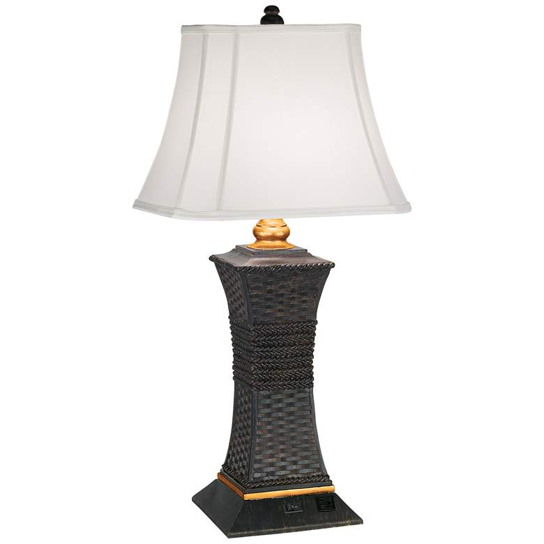 Rattan and Rope Table Lamp with Workstation Outlet Socket