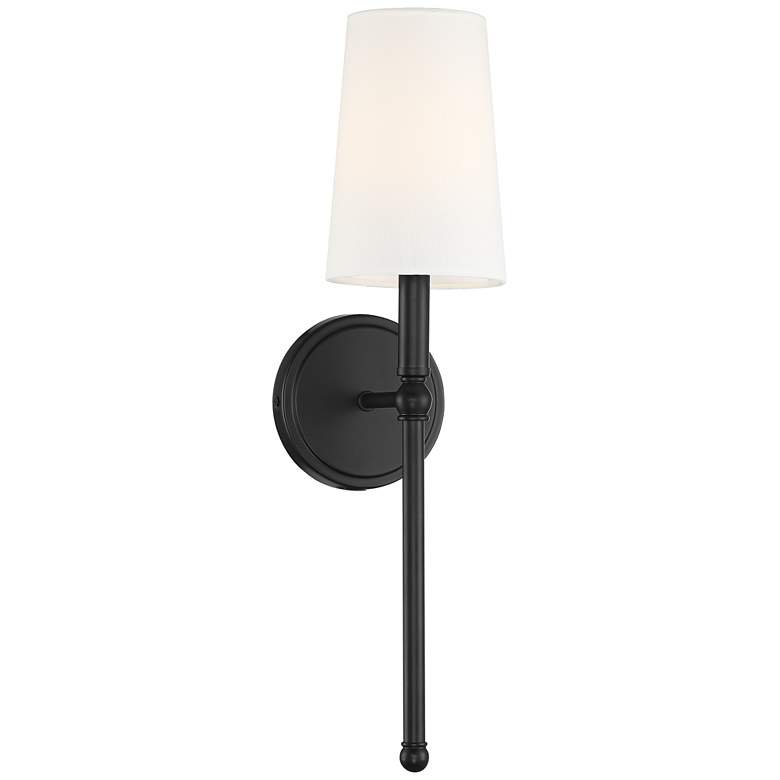 """Greta 21"""" High Bronze Wall Sconce with Linen Shade"""