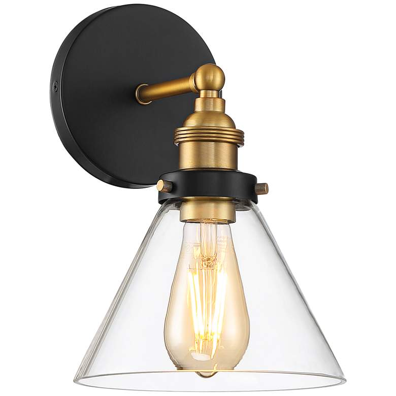 """Burke 10 3/4"""" High Black and Brass LED Wall Sconce"""