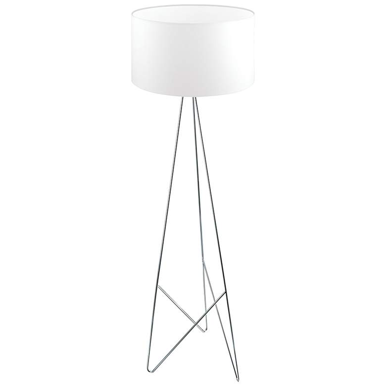Eglo Camporale Chrome and White Tripod Metal Floor Lamp