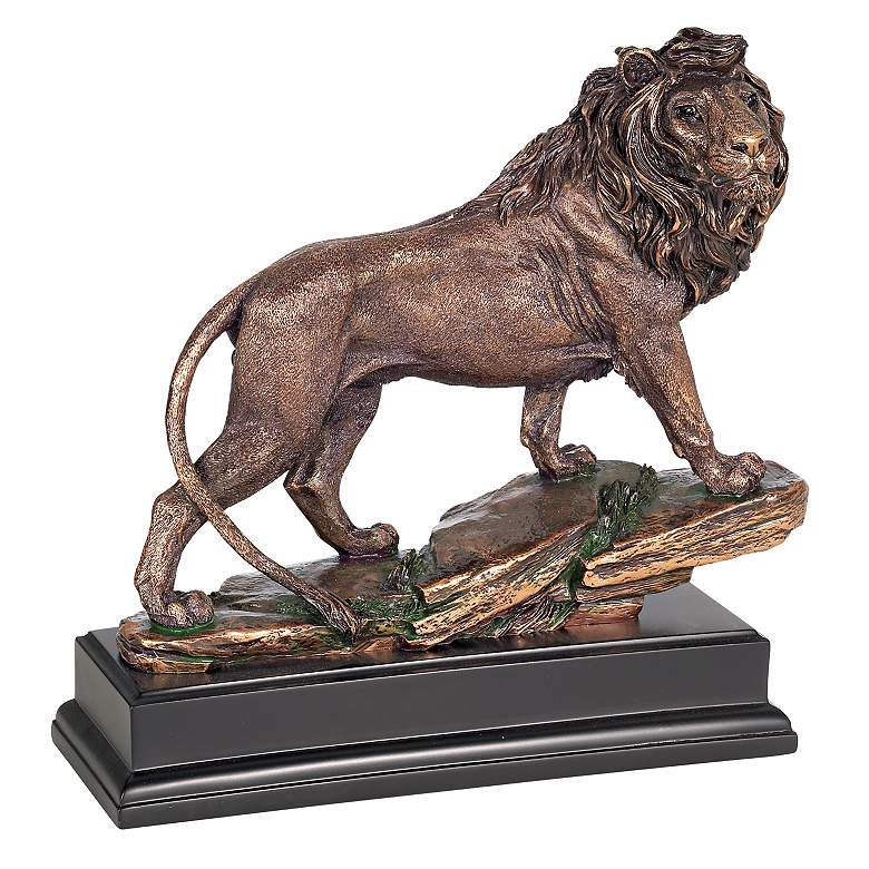"""Regal Lion 11"""" High Sculpture in a Bronze Finish"""