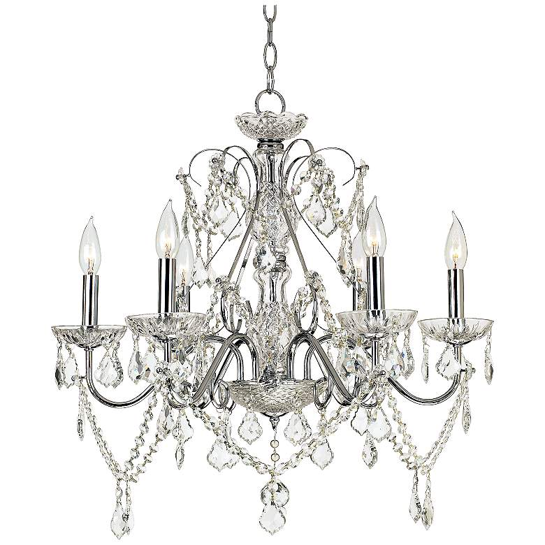 """Grace 23 1/2"""" Wide Chrome and Crystal 6-Light Chandelier"""