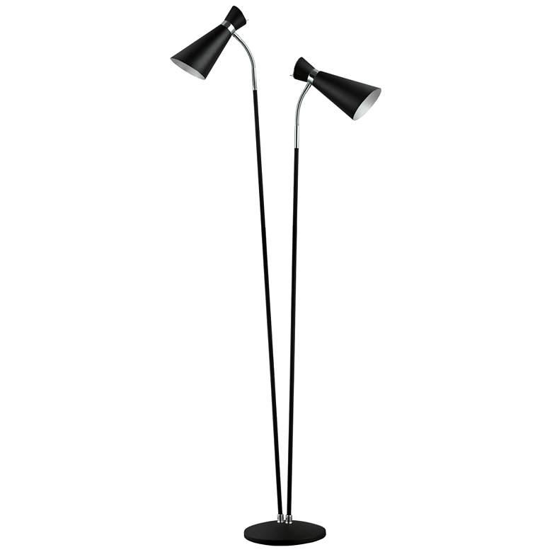 Eglo Sardinara Matte Black and Chrome 2-Light Floor Lamp