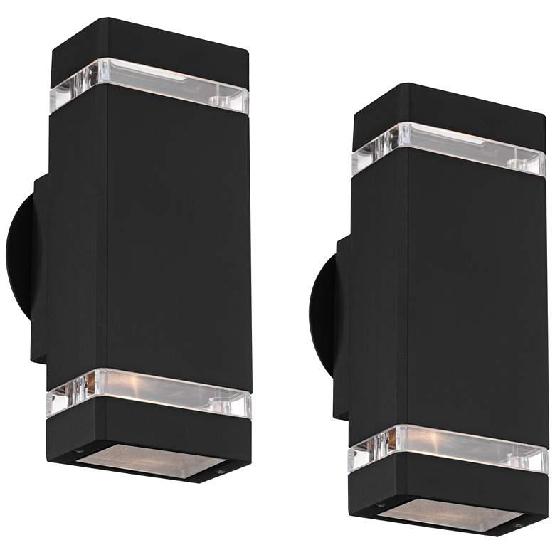 "Skyridge 10 1/2"" High Black Outdoor Wall Lights Set of 2"