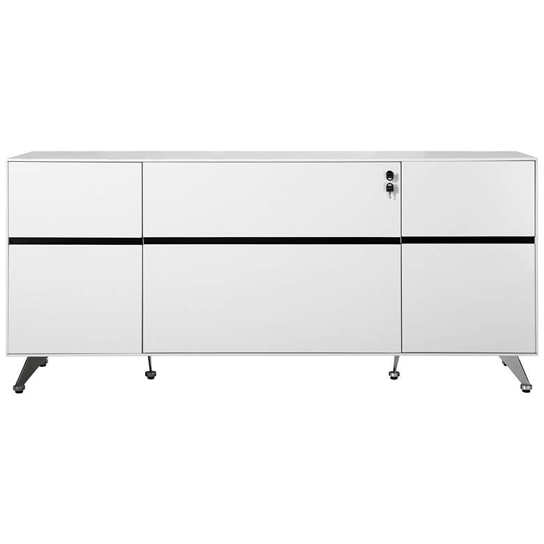 """400 Collection 73"""" Wide White and Black Wood Credenza"""