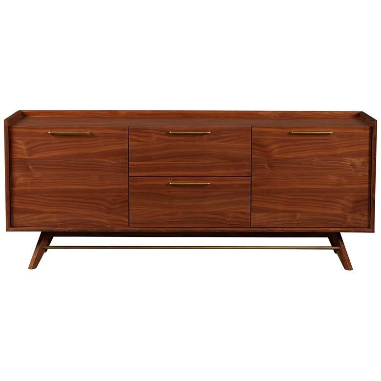 """Denali 71"""" Wide Walnut Wood 3-Section Sideboard"""
