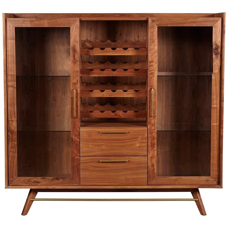 """Denali 59"""" Wide Walnut Wood 2-Door 2-Drawer Wine Buffet"""