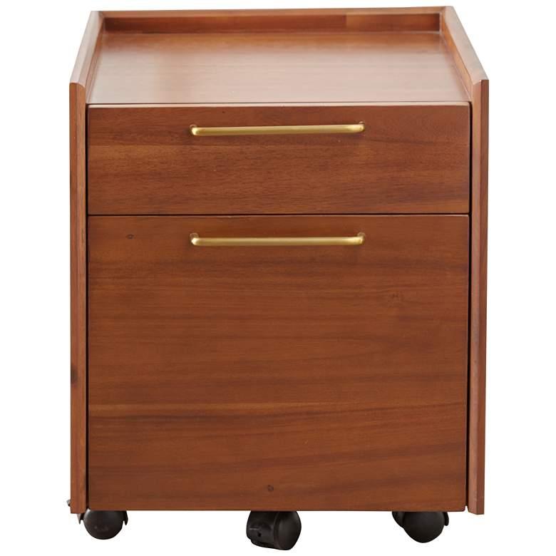 "Denali 22"" Wide Walnut Wood 2-Drawer Mobile Pedestal"