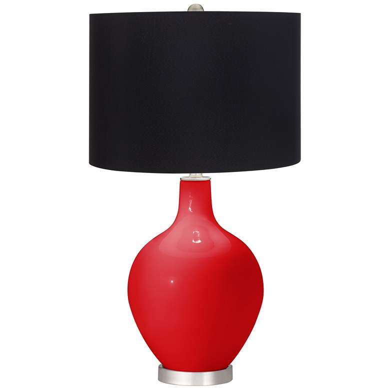 Bright Red Black Shade Ovo Table Lamp