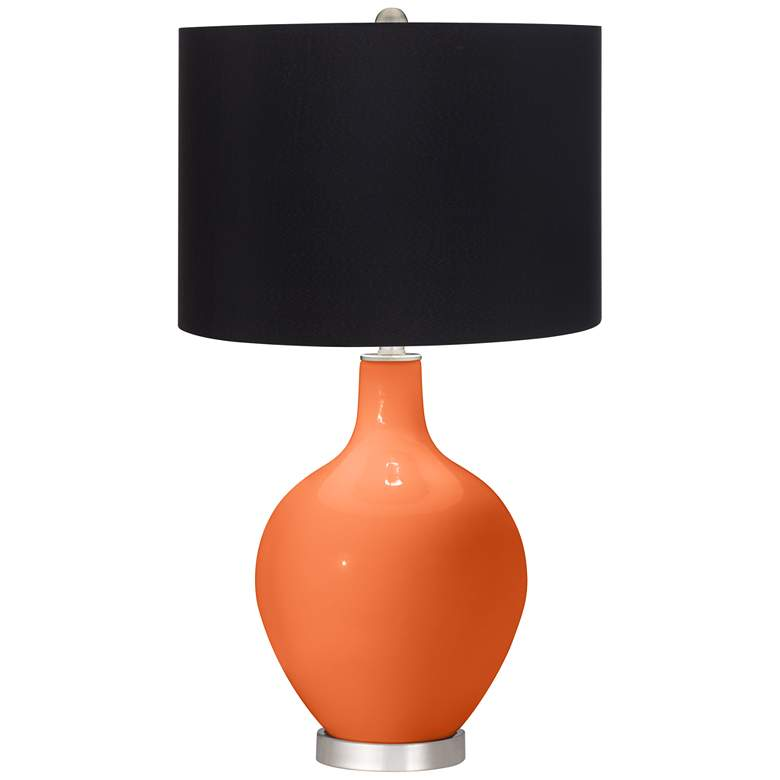 Nectarine Orange Ovo Table Lamp with Black Shade